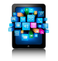 tablet with icons vector image vector image