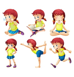 A young lady doing different activities vector image