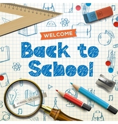 Back to school squared paper doodle background vector image vector image