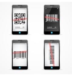 Barcode Scanner Mobile Set vector image