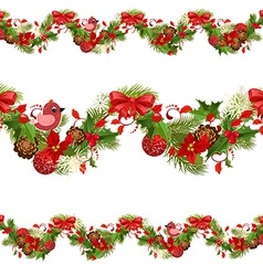 christmas set seamless borders for your design vector image vector image