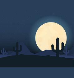 Desert landscape under the night sky vector