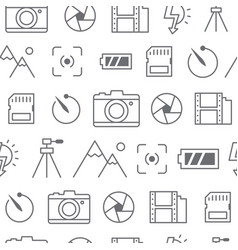 different line style icons seamless pattern camera vector image vector image