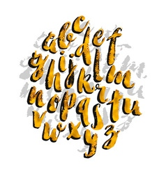 Hand drawn gold watercolor alphabet made with vector image vector image