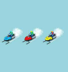man driving sports snowmobile set isometric vector image