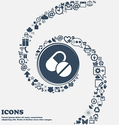 Medical pill icon in the center around the many vector