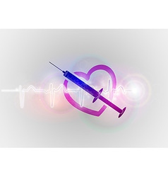 medical symbol injection with heart vector image vector image