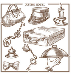 Retro hotel guest travel items and service staff vector