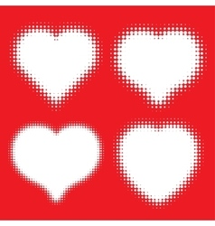 Set of white Hearts Halftone icons vector image