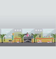 animal shelter concept in flat vector image