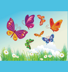 butterfly on a background of blue sky vector image