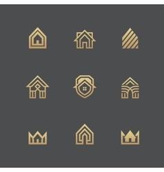 Houses logo set on black background vector image vector image