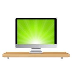 Monitor Icon Wooden Shelf vector image