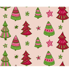 Seamless pattern with hand drawn Christmas vector image