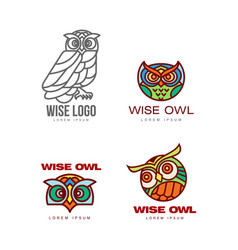 set of colorful and outlined owl logo templates vector image vector image