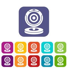 webcam icons set vector image