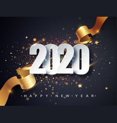 2020 happy new year background with golden vector image