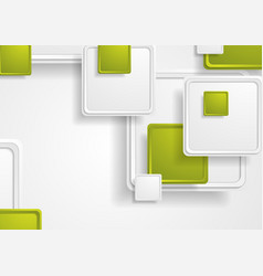abstract tech green grey squares background vector image