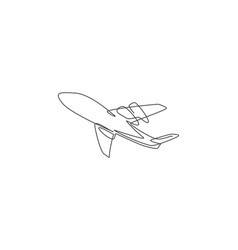 airplane icon continuous one line draw flying vector image