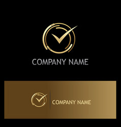 Approve check mark gold logo vector