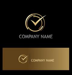 Approve check mark gold logo vector