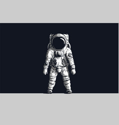 astronaut on isolated black background in black vector image