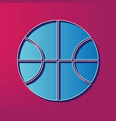 basketball ball sign blue 3d vector image
