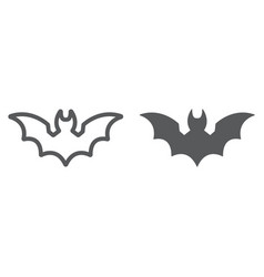 bat line and glyph icon animal and halloween vector image