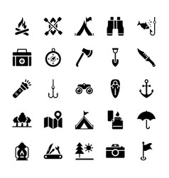 beach and camping icons vector image