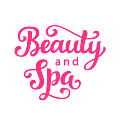 beauty and spa salon logo hand lettering vector image