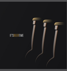 Beer time logo bottles with cap on black vector