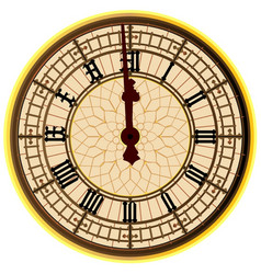 Big ben midnight clock face vector