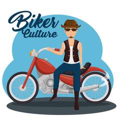 biker culture bikers riding motorbikes vector image
