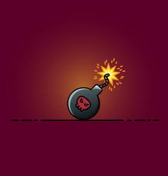 bomb flat icon cartoon vector image