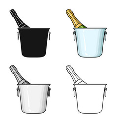 Bottle of champagne in an ice bucket icon in vector