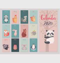 Calendar 2020 with animals cute forest vector