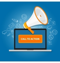 Call to action button marketing online design page vector
