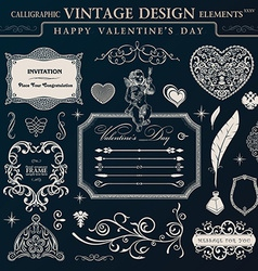 Calligraphic vintage ornament set happy valentine vector