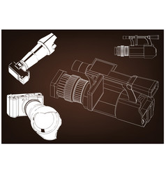 camera on brown vector image