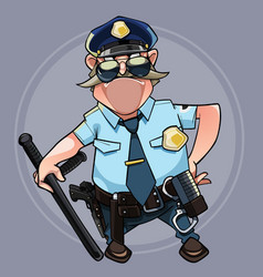 cartoon mustached man in a police uniform vector image