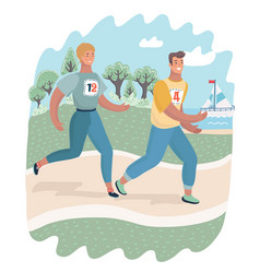 cheerful couple friends running in park vector image