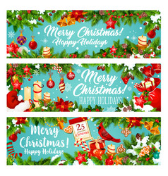 christmas banner of new year winter holiday gift vector image