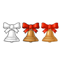 Christmas gold bell with red bow vintage vector