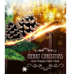 Christmas tree branches with cones vector image vector image