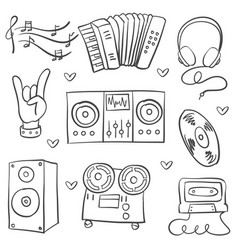 Collection stock music theme doodles vector