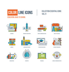 color icons set primary education back to school vector image