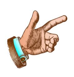 Color male hand make gesture forefinger vintage vector