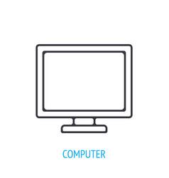 Computer monitor outline icon vector