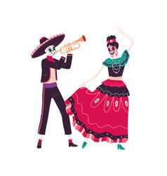 couple of happy mexican skeletons play trumpet vector image