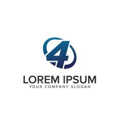 creative modern number 4 logo design concept vector image